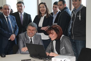 Prime Minister of Armenia codes at Hour of Code Gyumri